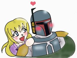 abbey and boba fett by VioletLunchell