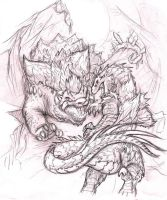 Gojira faces Space Godzilla by JuneCat