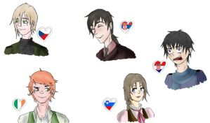 Hetalia OCs - Redrawn part 1 by Loveylove