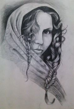 Woman with plaits by Lucbannon