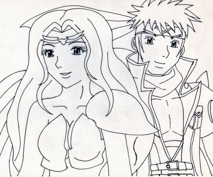 Michelle and Saotome (Lineart) by GothicYola