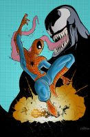 Spidey Vs. Venom in COLOUR by SasaBralic