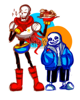 Papyrus and Sans - sketch by Nasuki100