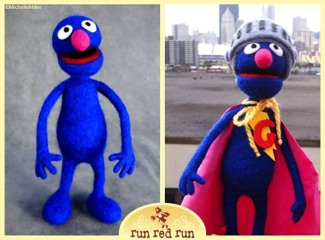 Needle Felted Grover-Super Grover by RunRedRun