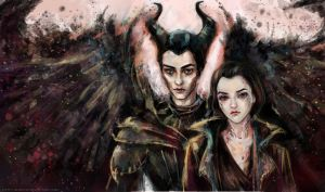 Maleficent and Diaval by manulys