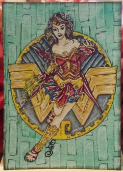 Goddess of War - Wonder Woman - ACEO by ParadoxSketchbook