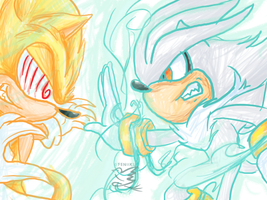 Silver vs Super Sonic by Feniiku