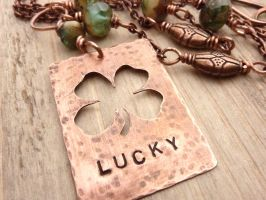 Lucky Clover Necklace by atwistofwhimsy
