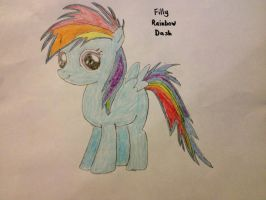 Filly Rainbow Dash drawing. by RcM595