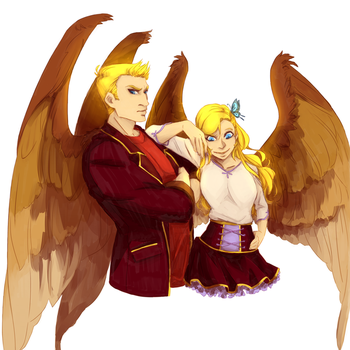 Machael and Lucifer by AlexandraVent