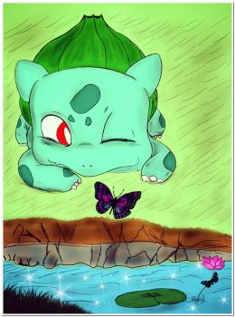 Bulbasaur with a Butterfly by ZeraX7
