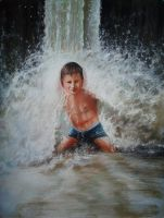 my son under the waterfall by GOTYCKI