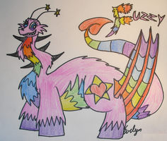 Fuzzy the Pink-Rainbow Dragon by BlueEvelyn