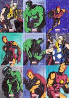 Marvel Bronze Age sketch cards - Avengers by JoeOiii