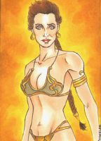 Slave Leia Sketch Card by wheels9696