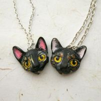 Cat necklaces I've made to order by FlowerLandBySaraMax
