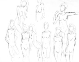 Sketchdump #1 - female bodies by BellaCielo