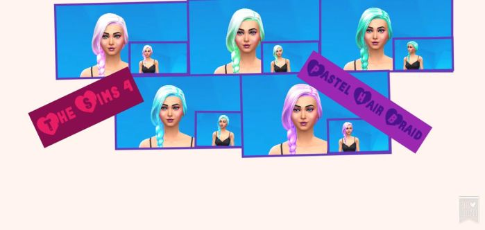 The Sims 4 Custom Content - Pastel Braids by xKawaiizzX