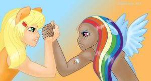 MLP Rainbow Dash and AppleJack humanized by snakehands