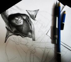 Assassins Creed 4 Black Flag Pencil Drawing WIP by Keshavsart