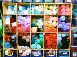 The Yarn Stash (the pretty part) by Ficklephonebug