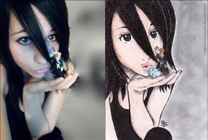 Rukia cosplay :33 (original photo and my drawing) by Reku-chan569