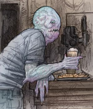 Monster at the bar - colour by Fuelreaver