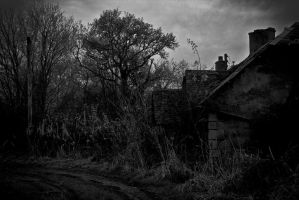 Spooky House in Black and White by BusterBrownBB