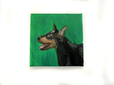 Mini Doberman Puppy Painting by crucifiedcondios