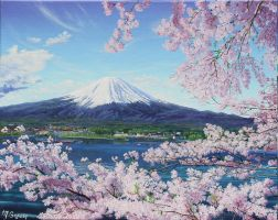 Mt. Fuji with Cherry Blossoms by Dreamscape-Weaver