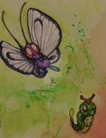 Butterfree and Caterpie by RoseyMayKerrNk66