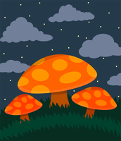 Mushrooms in the Night by hazyoasis