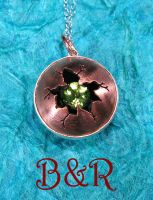 Cracked Copper and Peridot Pendant by Utinni