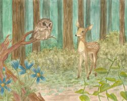 deer and owl by EmilyJaneWilliams