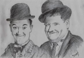 laurel and hardy drawing by manulal