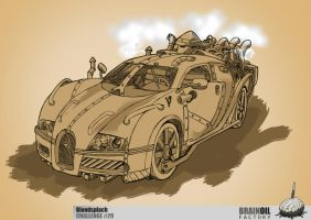 contemporary car in a steampunk style by bloodsplach