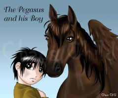 Commission - Pegasus and boy by Chaos--Child