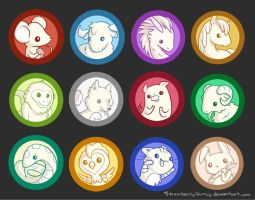 Chinese Zodiac Button Set by StrawberryQuincy