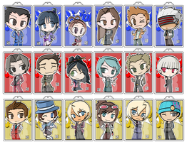 Ace Attorney Keychains by Ika-Boushi