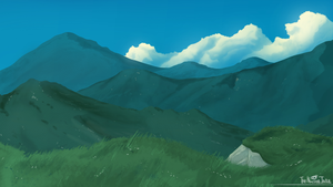 Mountains and Clouds speedpaint by NuclearJackal