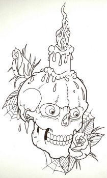 Candle Skull Outline by vikingtattoo