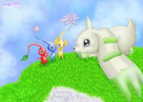 :Terriermon Meets The Pikmins: by norngirl