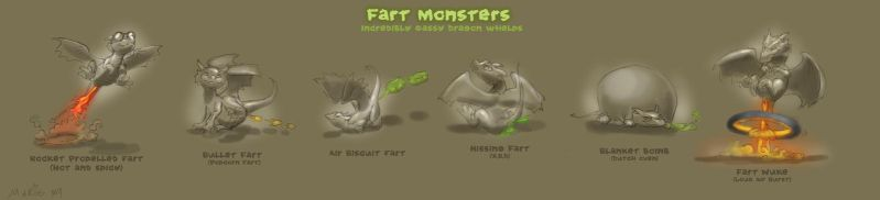 Fart Monsters by The-SixthLeafClover