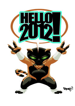 Midnite Kitty Welcomes the New Year by RAHeight2002-2012