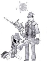 Twilight Sparkle and Sniper by TheAljavis