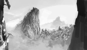 Value Study - Chinese Mountains by ZacharyHogan