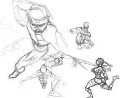 different poses sketches by davidshenoda