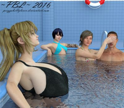 #15 - Relaxing in the Pool by PreggoBellyLover
