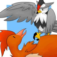 Fearow and Staraptor by LexisSketches