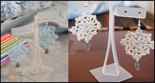 Snowflakes earrings by vrlovecats